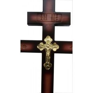 Крест сосновый с резкой и фольгой большой