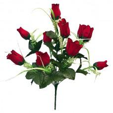Б048  Букет бутончиков роз бархат 12г. 55см