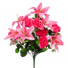 Б011  Букет роз и лилий 12г. 55см