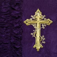 Обивка для гроба наружняя бархат-стрейч с Крестом