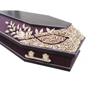 """Гроб шестигранный комбинированный """"Декор"""" коричневый"""